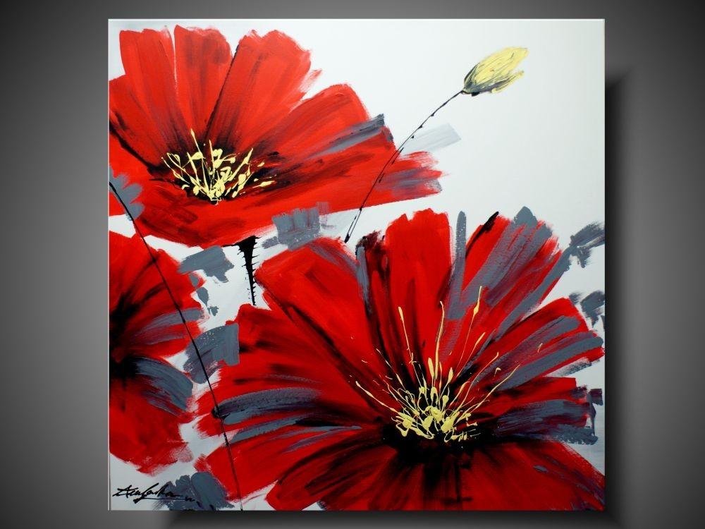 Nowoczesny Obraz Duży Obraz Czerwony Kwiat Obrazy Kwiaty Ręcznie