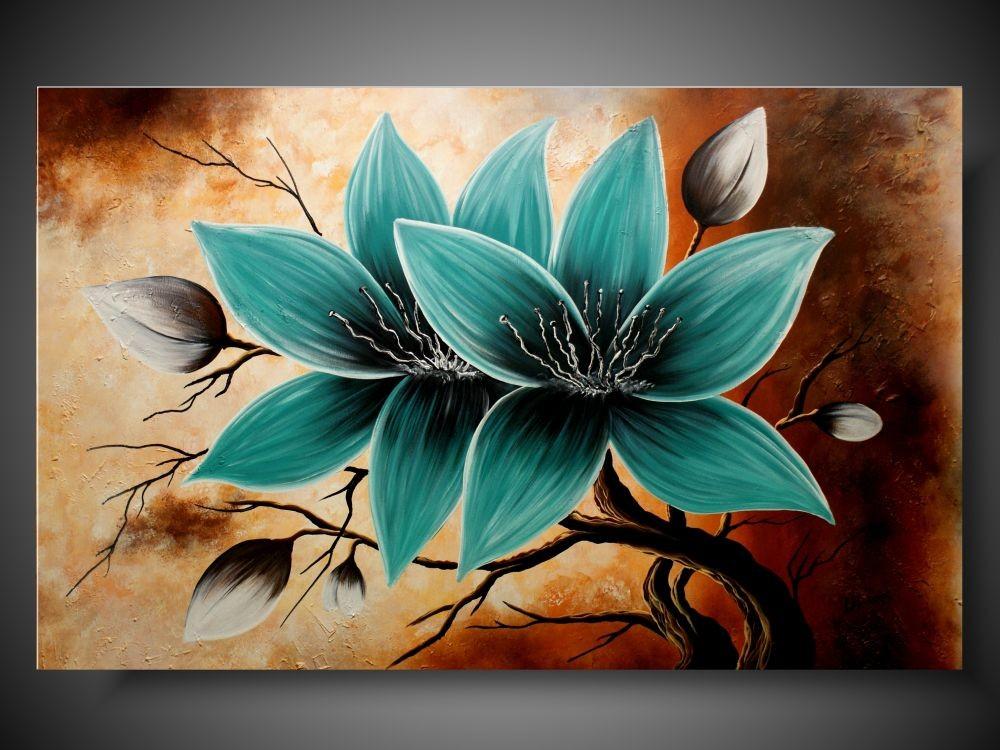 Nowoczesny Obraz Duży Obraz Turkusowy Kwiat Obrazy Kwiaty Ręcznie