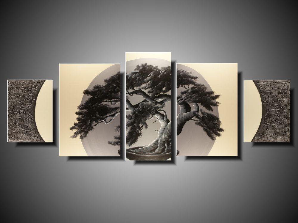 Nowoczesny Obraz Duży Obraz Drzewo Bonsai Srebrny Księżyc Ręcznie